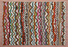 """5.7""""x7.10"""" Zig Zag Contemporary Pattern Handknotted 100% Woolen Rugs & Carpet"""
