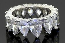 Heavy 18K WG 7.10CTW Pear diamond eternity band ring w/ .80CT ctr. size 5.25