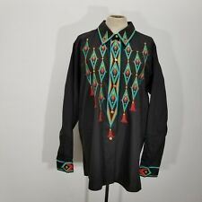 Bob Mackie Womens Folklore Embroidered Blouse Shirt Sz L Southwestern Vibrant