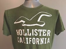 Hollister Mens XL Cotton T Shirt Green Screened Logo Seagull Surf California