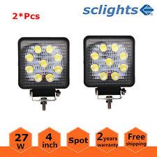 2x 4inch 27W Square LED Work Light Fog Driving Spot Offroad ATV 4x4WD Truck SUV