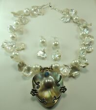 Statement Keshi & Shell Pearl Set with Blister Pearl Opal Pendant Wedding