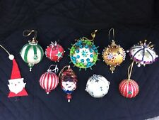 Vintage Christmas Beaded Ornaments Handmade Pin Sequin Lot of 10