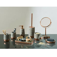 Neptune Bathroom Accessories Set Copper Concrete Organiser Holder Soap Dispenser
