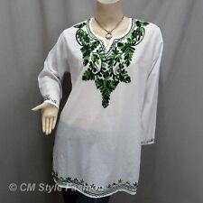 Hippie Ethnic Embroidery Bohemian Kaftan Tunic Top White Green XL