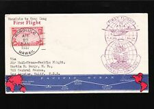 Transpacific Honolulu Hong Kong 1st Flight 1937 Illustrated Cover Scott C22 7y