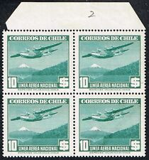 CHILE 1942 AIR MAIL STAMP # 290 MNH wmk 2 BLOCK OF FOUR AVIATION