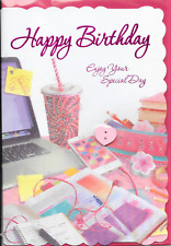 HAPPY BIRTHDAY CARD,3D ATTACHMENTS,LAPTOP,MOBILE PHONE SENTIMENTAL VERSE(A4