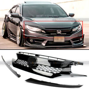 For 16-18 Civic 10th X FK8 Type R Glossy Black Bumper Grille + 2 Pieces Eyebrows