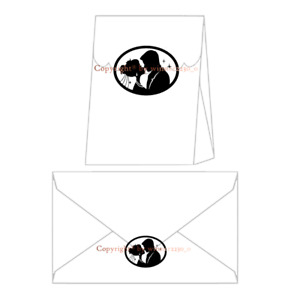 Premium Quality Black Clear Bride & Groom OVAL Envelope Bag Seal Wedding Sticker