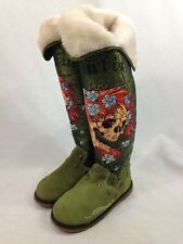 Don Ed Hardy Tall Boots Womens 5 Faux Fur Lined Green Suede Printed Embellished