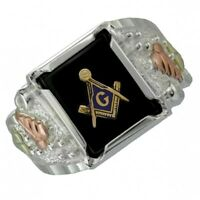 Black Hills Gold on Sterling Silver Masonic Ring for Men's Size 9 - 14