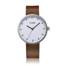 "Tomi Watch ""005"" Quarzo Acciaio Inox Bianco Verde Pelle Marrone Unisex Orologio"