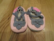 New Infant Girls Pink & Gray Naartjie Mary Jane Shoes, Size 6 / 9 Mths