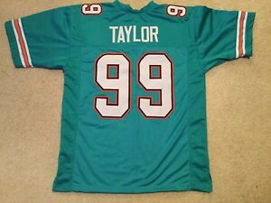 UNSIGNED CUSTOM Sewn Stitched Jason Taylor Teal 1 Jersey - Extra Large