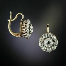 2.0Ct Round Cut Diamond Antique Flower Drop/Dangle Earrings 14k Yellow Gold Fin
