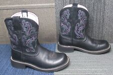 Wmns ARIAT Fatbaby II Black Leather Ankle Boots sz 9.5 B