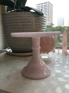"Pink 6"" Pedestal Cake Stand Plate - Mosser"