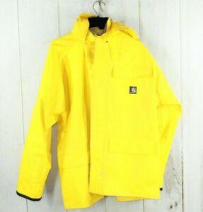 Carhartt Mens Yellow Full Button Down Rain Jacket Size M