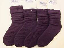 4 Pairs Pack of MS Plain Purple Slouch Socks Adults shoe Size 4-7