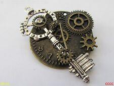 Steampunk broche insignia con Pin Llave Cerrajero Rueda Dentada Engranaje Reloj De Reloj De Bronce