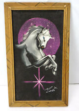 VELVET Painting UNICORN Picture Hand-Painted Signed Wood Frame Mexico Art Vtg