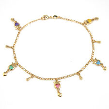 "14k Gold Filled Ankle-Foot Bracelet Evil Heart Charms 9.5"" Pulso de Pie Corazon"