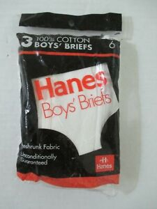 NEW VINTAGE HANES 3-PACK BOYS BRIEFS UNDERWEAR USA MADE SIZE 6 DATED 1992 SEALED
