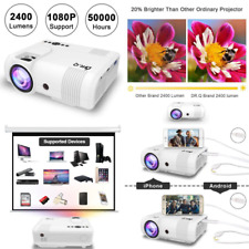 """DR.Q Projector, Video Projector 2400 Lumens, Mini Projector with 170"""" Display, 5"""