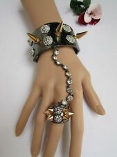WOMEN PEWTER METAL HAND CHAIN SPIKES RHINESTONES SLAVE BRACELET RING PUNK ROCKER