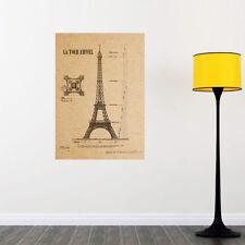 Paris Eiffel Tower Wall Poster  Kraft Paper Art Home Decor Mural Decal