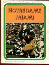 College Football Program Notre Dame 1974 Miami