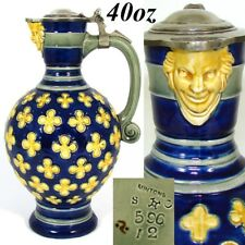 Antique Minton 1873 Majolica 40oz Pitcher, Jug, Cobalt, Figural Mascaron Spout