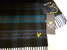 Lyle and & Scott mens scarf green black blue & red checked lambswool NEW wool