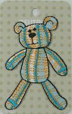 BEUTRON Iron On Motif Applique Patch Striped Teddy Aqua BM5007 9312919025069