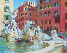 "Well Listed Nino Pippa Original Oil Painting Rome Piazza Navona Fountain11""X14"""