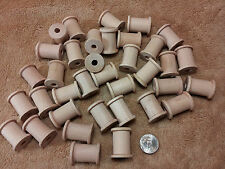 Unfinished Hard Wood Wooden Shapes Thread Spools Lot of 36 Macrame Beads