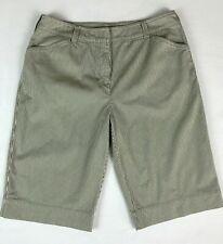 Womens Shorts Jones New York Sport Size 10 Bermuda Olive Green White Pinstripe