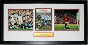 David Beckham Autographed Manchester Untied England Photo Set JSA COA Framed