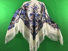 Châle 125x125 cm 100% laine, franges de soie authentique PAVLOV POSSAD RUSSIE