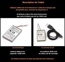 Batterie manette dualshock ps4  2000mAh + Chargeur USB