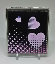 Kingstar Black With Hearts PU Leather Wrapped King Size Cigarette Case