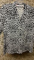 Chaus women's L black & white animal print short sleeve blouse only $9.99