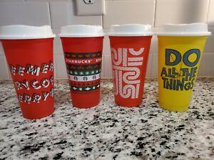 Starbucks 2013 Reusable Plastic X-mas Coffee Travel Cup w/ Lid 16oz - Set of 4
