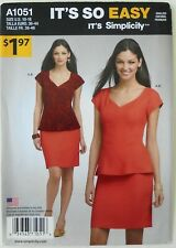 Simplicity 1051 Misses It's So Easy Top Skirt Sewing Pattern Sz 10-18