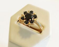 Vintage Classic 14K Gold filled flower ring Black Onyx size 8.5 Israel made