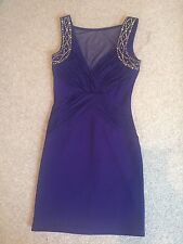 Lipsy Dress Bodycon Purple Mesh Front Stud Straps Stretch Worn Once 10 Perfect