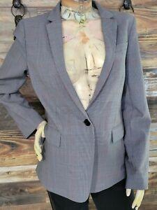 J. Crew Regent Stretch Wool Blend 1-Button Surgeon Sleeves Check Blazer Size 12