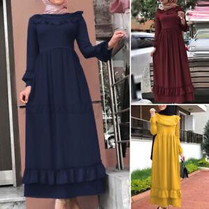 Women Muslim Farasha Morocco Kaftan Arab Party Gown Slim Tunic Long Shirt Dress