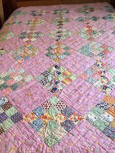 "Vintage Handmade 16 Patch Patchwork Quilt - 70X53"" Lavender Print, Ticking Back"